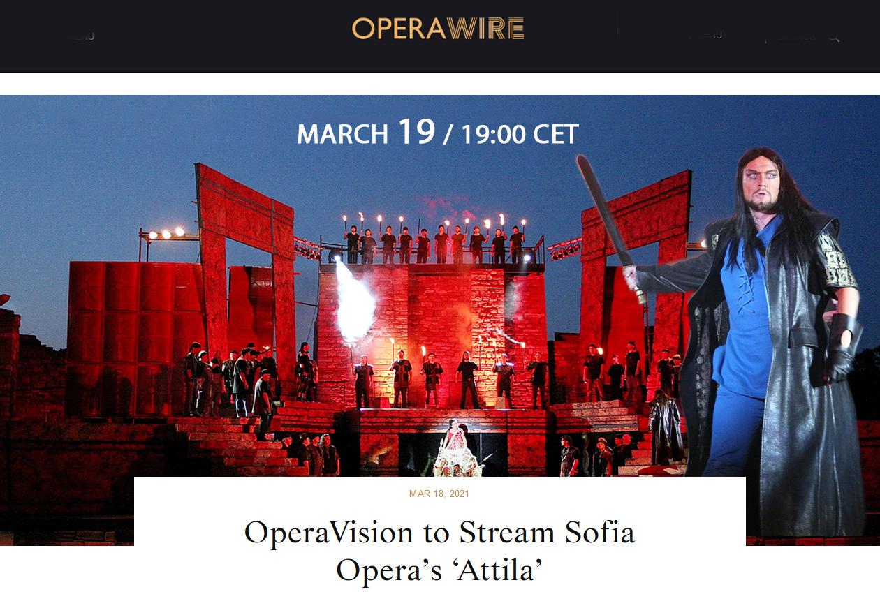 OperaVision to Stream Sofia Opera's 'Attila'