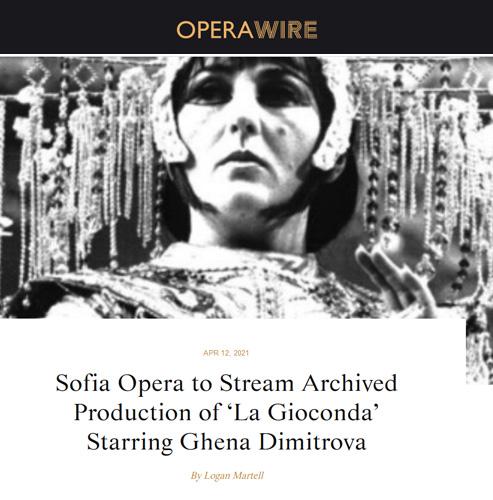 """Софийската опера ще излъчи онлайн архивната постановка на """"Джоконда"""" с Гена Димитрова"""