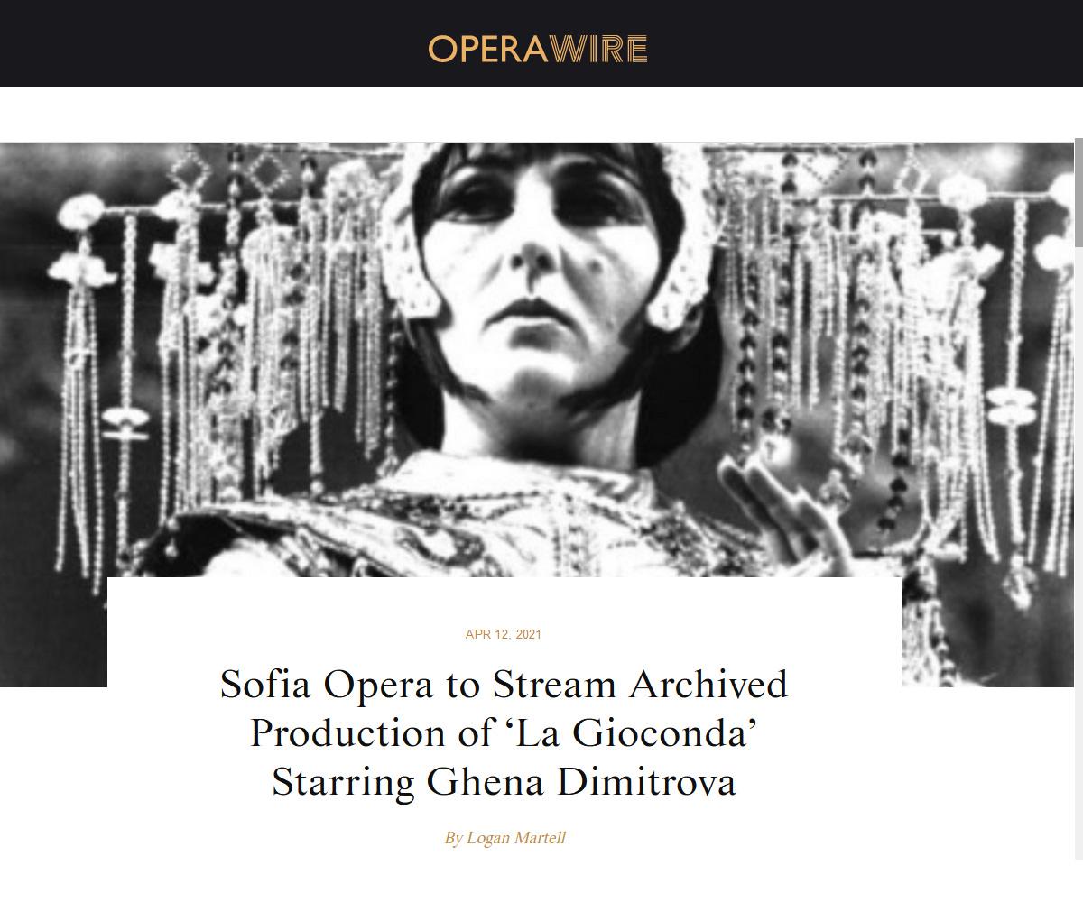 Sofia Opera to Stream Archived Production of 'La Gioconda' Starring Ghena Dimitrova